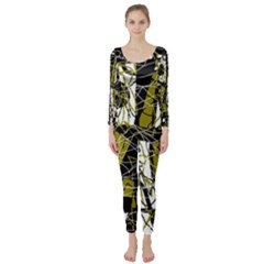 Brown Abstract Art Long Sleeve Catsuit by Valentinaart