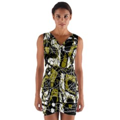 Brown abstract art Wrap Front Bodycon Dress by Valentinaart