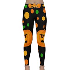 Halloween Pumpkin Yoga Leggings  by Valentinaart