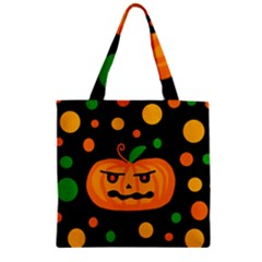 Halloween Pumpkin Zipper Grocery Tote Bag by Valentinaart
