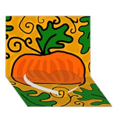 Thanksgiving Pumpkin Heart Bottom 3d Greeting Card (7x5)