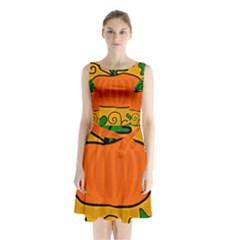 Thanksgiving Pumpkin Sleeveless Chiffon Waist Tie Dress by Valentinaart