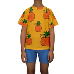 Thanksgiving pumpkins pattern Kid s Short Sleeve Swimwear by Valentinaart