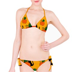 Halloween Pumpkins And Cats Bikini Set by Valentinaart