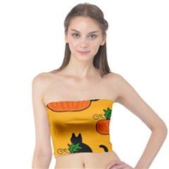 Halloween Pumpkins And Cats Tube Top by Valentinaart
