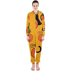 Halloween Pumpkins And Cats Hooded Jumpsuit (ladies)  by Valentinaart