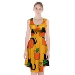 Halloween Pumpkins And Cats Racerback Midi Dress by Valentinaart