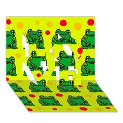 Green Frogs Love 3d Greeting Card (7x5) by Valentinaart