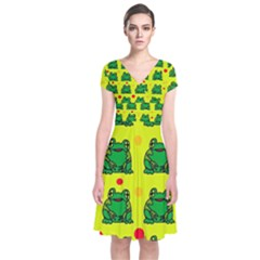 Green frogs Short Sleeve Front Wrap Dress by Valentinaart