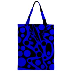 Blue And Black Abstract Decor Zipper Classic Tote Bag by Valentinaart