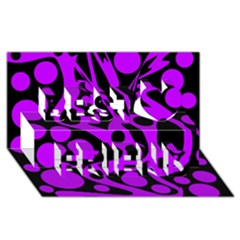 Purple And Black Abstract Decor Best Friends 3d Greeting Card (8x4)