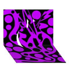 Purple And Black Abstract Decor Apple 3d Greeting Card (7x5) by Valentinaart