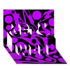 Purple And Black Abstract Decor Get Well 3d Greeting Card (7x5) by Valentinaart