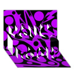 Purple And Black Abstract Decor You Rock 3d Greeting Card (7x5)