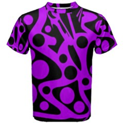 Purple And Black Abstract Decor Men s Cotton Tee by Valentinaart