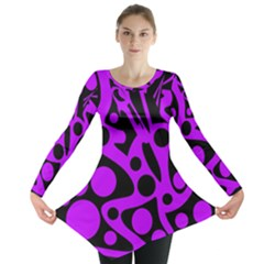 Purple And Black Abstract Decor Long Sleeve Tunic  by Valentinaart