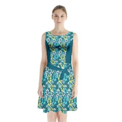 Floral Pattern Sleeveless Chiffon Waist Tie Dress by olgart