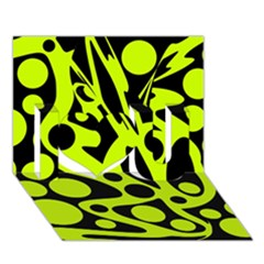 Green And Black Abstract Art I Love You 3d Greeting Card (7x5) by Valentinaart