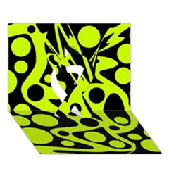 Green and black abstract art Ribbon 3D Greeting Card (7x5) by Valentinaart