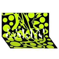 Green And Black Abstract Art Sorry 3d Greeting Card (8x4) by Valentinaart