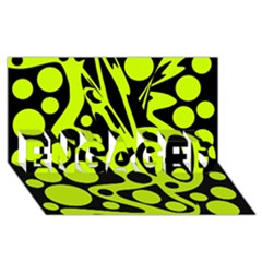 Green And Black Abstract Art Engaged 3d Greeting Card (8x4)