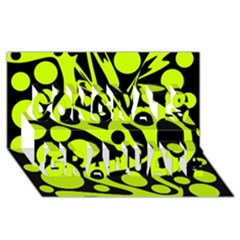 Green And Black Abstract Art Congrats Graduate 3d Greeting Card (8x4)