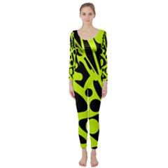 Green And Black Abstract Art Long Sleeve Catsuit by Valentinaart