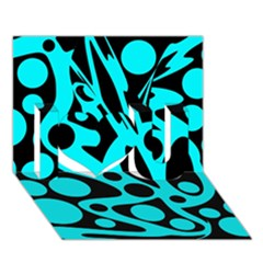 Cyan And Black Abstract Decor I Love You 3d Greeting Card (7x5) by Valentinaart