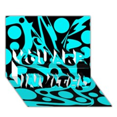 Cyan And Black Abstract Decor You Are Invited 3d Greeting Card (7x5) by Valentinaart