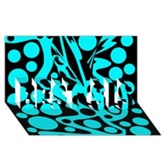 Cyan And Black Abstract Decor Best Sis 3d Greeting Card (8x4) by Valentinaart