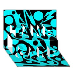Cyan And Black Abstract Decor Take Care 3d Greeting Card (7x5) by Valentinaart