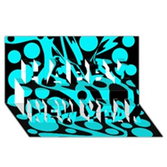 Cyan And Black Abstract Decor Happy New Year 3d Greeting Card (8x4) by Valentinaart