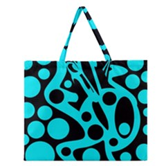 Cyan And Black Abstract Decor Zipper Large Tote Bag by Valentinaart