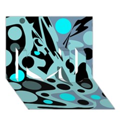 Cyan Blue Abstract Art I Love You 3d Greeting Card (7x5) by Valentinaart