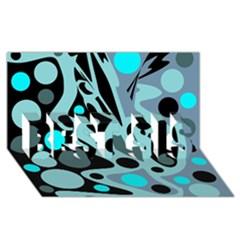 Cyan Blue Abstract Art Best Sis 3d Greeting Card (8x4) by Valentinaart