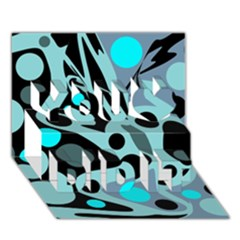 Cyan Blue Abstract Art You Did It 3d Greeting Card (7x5)