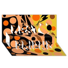Orange Abstract Decor Best Friends 3d Greeting Card (8x4) by Valentinaart