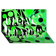 Green Abstract Decor Happy Birthday 3d Greeting Card (8x4)