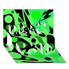 Green Abstract Decor Miss You 3d Greeting Card (7x5)