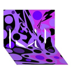 Purple Abstract Decor I Love You 3d Greeting Card (7x5) by Valentinaart