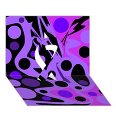 Purple Abstract Decor Ribbon 3d Greeting Card (7x5)