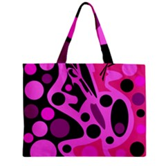 Pink Abstract Decor Zipper Mini Tote Bag by Valentinaart