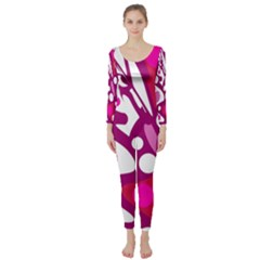 Magenta And White Decor Long Sleeve Catsuit by Valentinaart