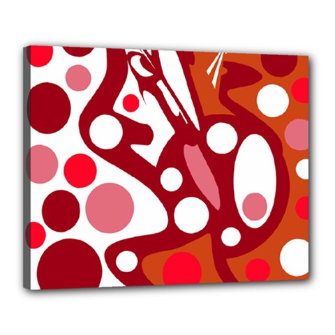 Red and white decor Canvas 20  x 16  by Valentinaart