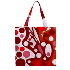 Red And White Decor Zipper Grocery Tote Bag by Valentinaart