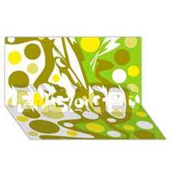 Green And Yellow Decor Engaged 3d Greeting Card (8x4)