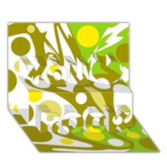 Green And Yellow Decor You Rock 3d Greeting Card (7x5) by Valentinaart