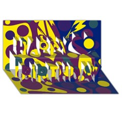 Deep Blue And Yellow Decor Happy Birthday 3d Greeting Card (8x4)