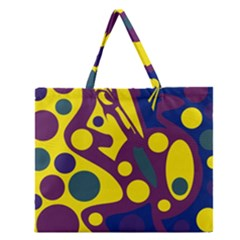 Deep Blue And Yellow Decor Zipper Large Tote Bag by Valentinaart