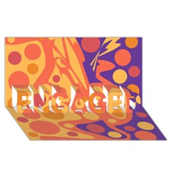 Orange And Blue Decor Engaged 3d Greeting Card (8x4)